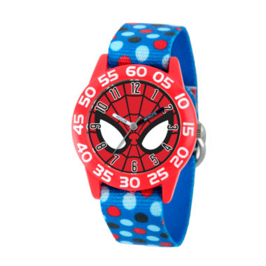 jcpenney.com | Marvel Boys Blue And Red Spiderman Time Teacher Polka Dot Strap Watch W003246