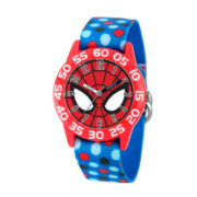 Marvel Boys Blue And Red Spiderman Time Teacher Polka Dot Strap Watch W003246
