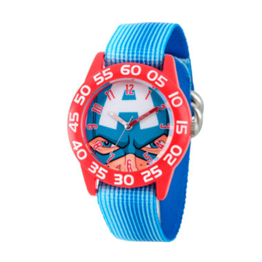 jcpenney.com | Marvel Boys Blue And Red Captain American Time Teacher Plastic Strap Watch W003256