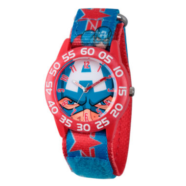 jcpenney.com | Marvel Boys Blue Captain America Time Teacher Plastic Strap Watch W003257