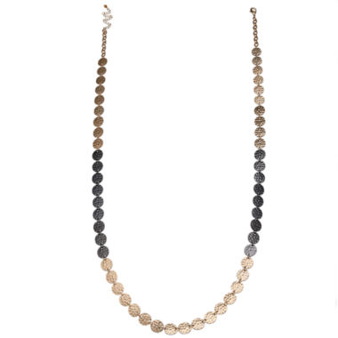 jcpenney.com | Bold Elements™ Tri-Tone Hammered Disc Long Necklace