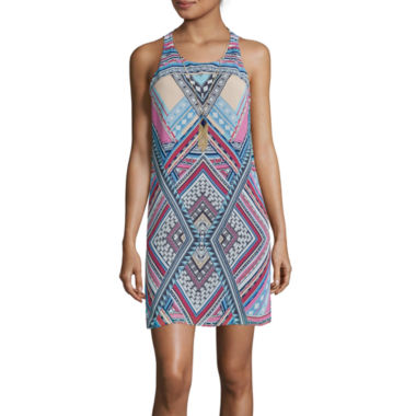 jcpenney.com | by&by Sleeveless Printed A Line Dress with Necklace