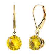 Lab-Created Yellow Sapphire 10k Yellow Gold Leverback Dangle Earrings