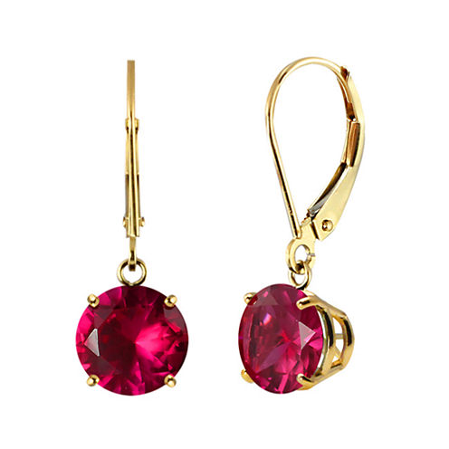 Lab-Created Round Ruby 10k Yellow Gold Leverback Dangle Earrings