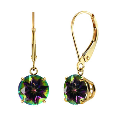 jcpenney.com | Genuine Mystic Topaz 10k Yellow Gold Leverback Dangle Earrings