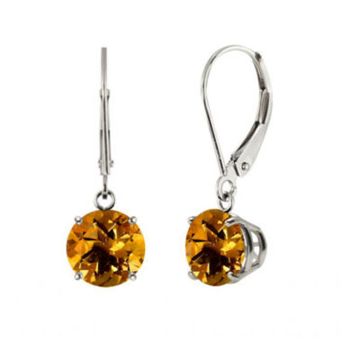 jcpenney.com | Genuine Citrine 10k White Gold Leverback Dangle Earrings