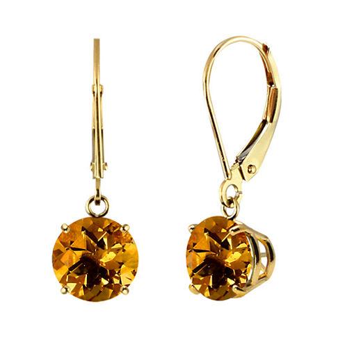 Genuine Citrine 10k Yellow Gold Leverback Dangle Earrings