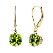 Genuine Peridot 10k Yellow Gold Leverback Dangle Earrings