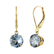 Lab-Created Aquamarine 10K Yellow Gold Leverback Dangle Earrings
