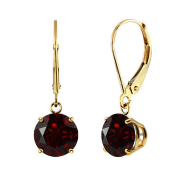 jcpenney.com | Genuine Round Garnet 10K Yellow Gold Leverback Dangle Earrings