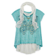 Knit Works® Cap-Sleeve Top with Scarf and Necklace - Girls 7-16