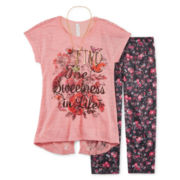 Knit Works® Lace Back Tunic and Leggings Set with Necklace - Girls 7-16 and Plus