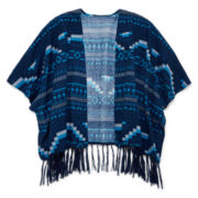 Arizona Blanket Poncho with Fringe - Girls 7-16