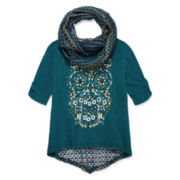 Arizona 3/4-Sleeve Screen Print Top with Crochet Scarf - Girls 7-16