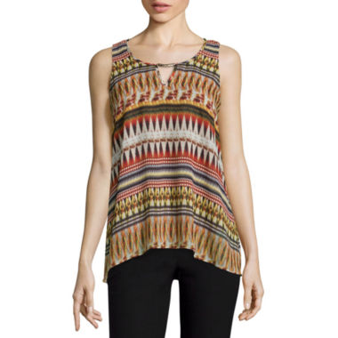 jcpenney.com | by&by Sleeveless Printed Knit To Woven Top