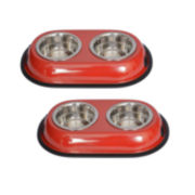 Iconic Pet 4-Cup Color Double-Bowl Diner