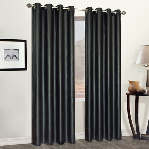 United Curtain Co. Faux Leather Grommet-Top Curtain Panel