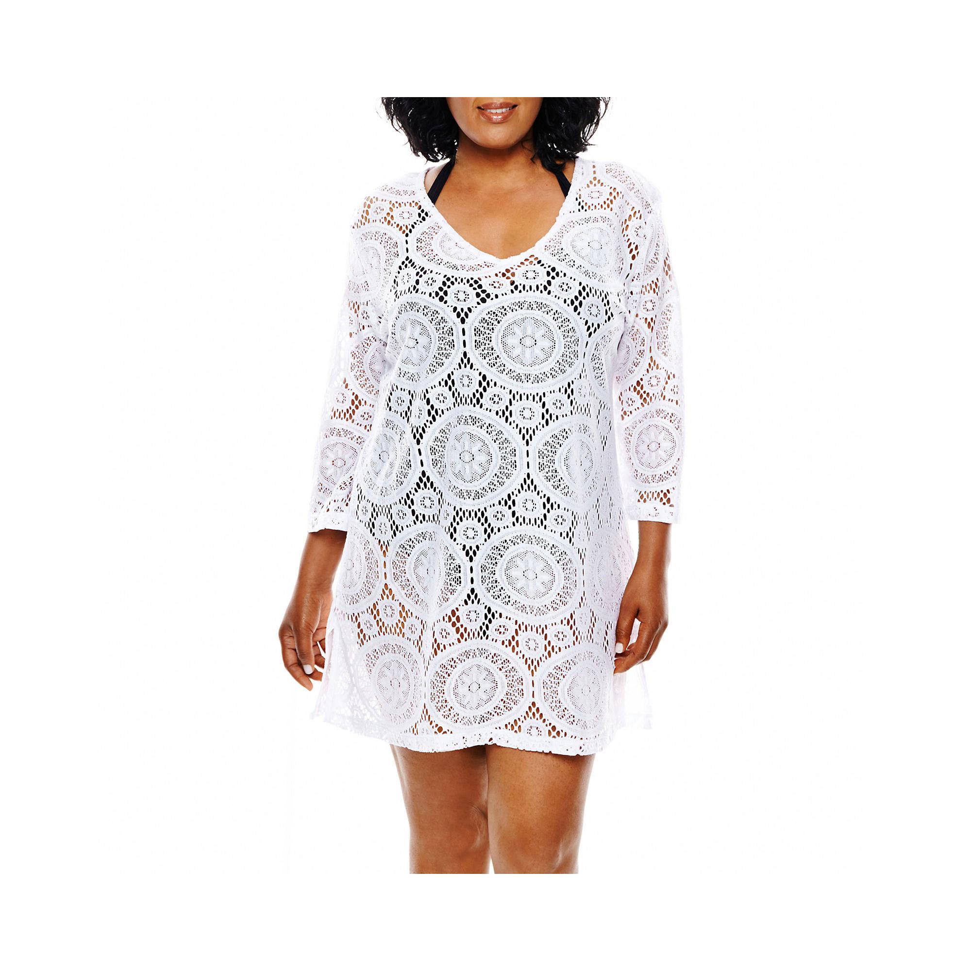 Porto Cruz Medallion Crochet Tunic Cover-Up - Plus plus size,  plus size fashion plus size appare