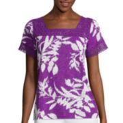 St. John's Bay® Sleeveless Flutter Lace Yoke Top - Petite