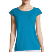 St. John's Bay® Sleeveless Lace Tee- Petite