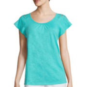 St. John's Bay® Sleeveless Lace Tee - Petite