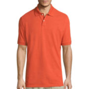 St. John's Bay® Short-Sleeve Slim-Fit Heathered Pique Polo