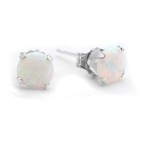 Lab-Created 6mm Opal 10K Yellow Gold Stud Earrings