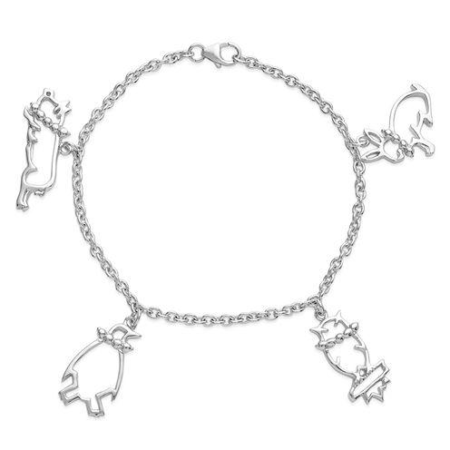 Womens Sterling Silver Charm Bracelet