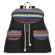 Olsenboye® Solid Backpack with Tribal Print Pocket