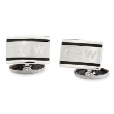 jcpenney.com | Personalized Brushed Stainless Steel Cuff Links
