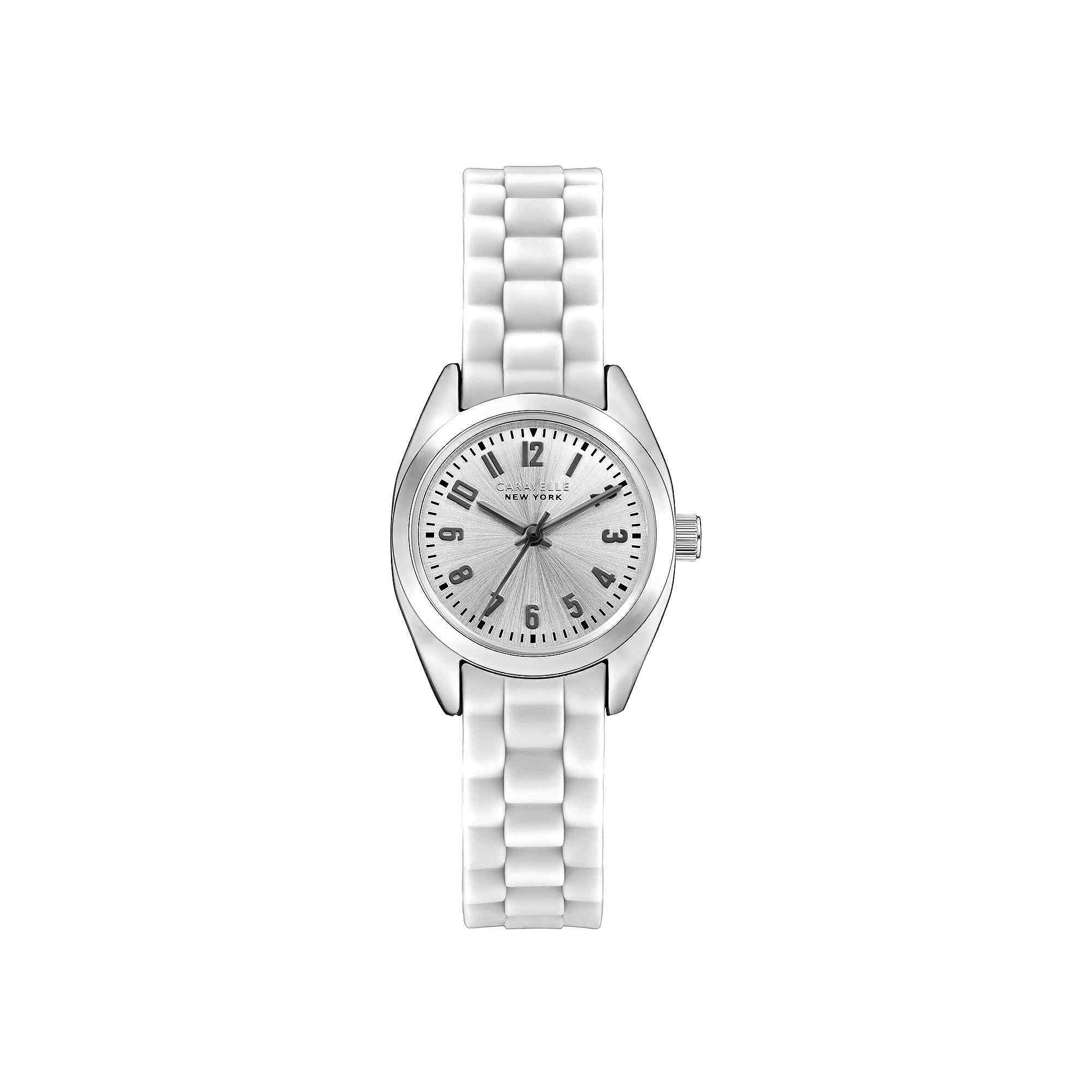 Caravelle New York Womens White Silicone Strap Sport Watch 43L176