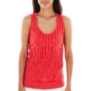 a.n.a® Lace-Front Knit Tank Top - Petite