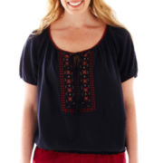 St. John's Bay® Short-Sleeve Embroidered Peasant Top - Plus