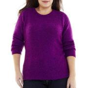 St. John's Bay® Marled Crewneck Sweater - Plus