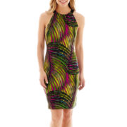 Worthington® Sleeveless Palm Print Halter Dress