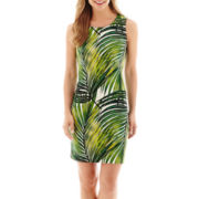 Worthington® Sleeveless Palm Print Scuba Sheath Dress
