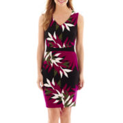 Worthington® Sleeveless Print Scuba Sheath Dress