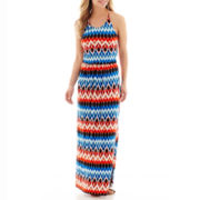 a.n.a® Sleeveless Tie-Dyed Print Halter Maxi Dress