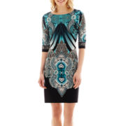 Studio 1® 3/4-Sleeve Paisley Print Knit Sheath Dress