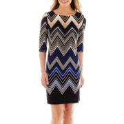 Studio 1® 3/4-Sleeve Chevron Print Knit Shift Dress