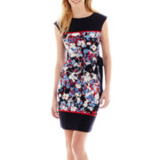 R&K Originals® Cap-Sleeve Floral Print Side-Tie Dress