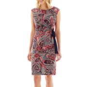 R&K Originals® Cap-Sleeve Paisley Print Side-Tie Dress