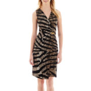 Robbie Bee® Sleeveless Animal Print Faux-Wrap Knit Dress