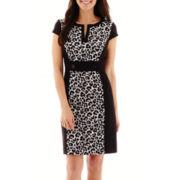 Studio 1® Cap-Sleeve Animal Print Panel Sheath Dress - Petite