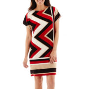 Studio 1® Dolman-Sleeve Zigzag Print Sheath Dress - Petite