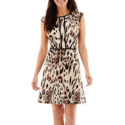 Studio 1® Extended-Shoulder Animal Print Fit-and-Flare Dress - Petite