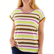Stylus™ Dolman-Sleeve Striped T-Shirt - Plus