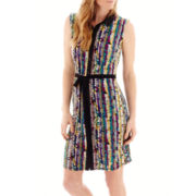 Liz Claiborne® Sleeveless Tie-Waist Shirtdress