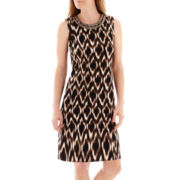 Liz Claiborne® Sleeveless Jeweled-Neck Ikat Print Sheath Dress