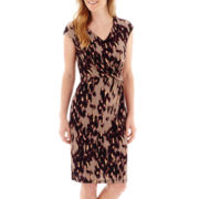 Liz Claiborne® Cap-Sleeve Side-Ruched Sheath Dress